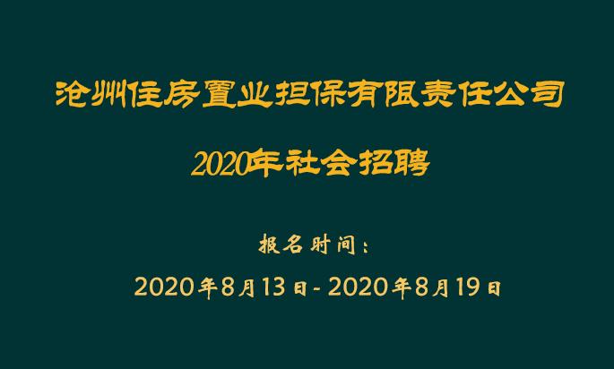 沧州住房置业担保有限责任公司2020年招聘工作人员公告